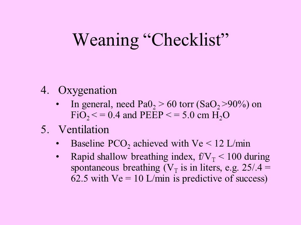 Weaning Checklist 4. Oxygenation Ventilation