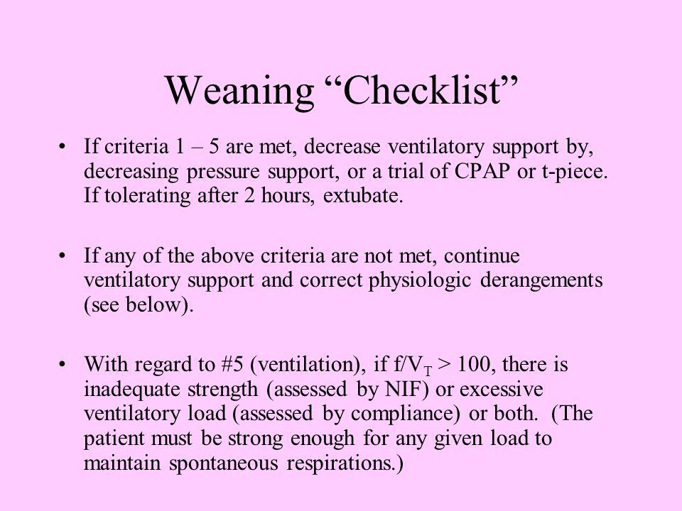Weaning Checklist