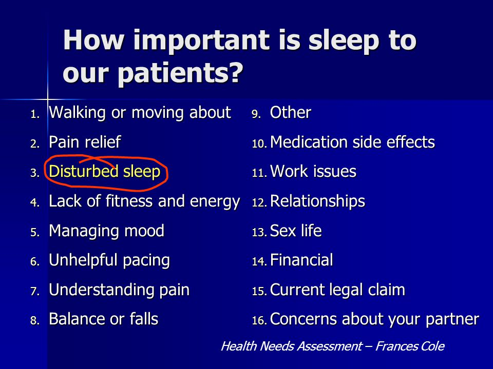 How important is sleep to our patients