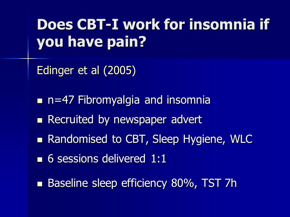Does CBT-I work for insomnia if you have pain