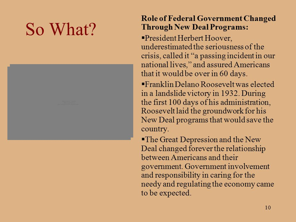 So What Role of Federal Government Changed Through New Deal Programs: