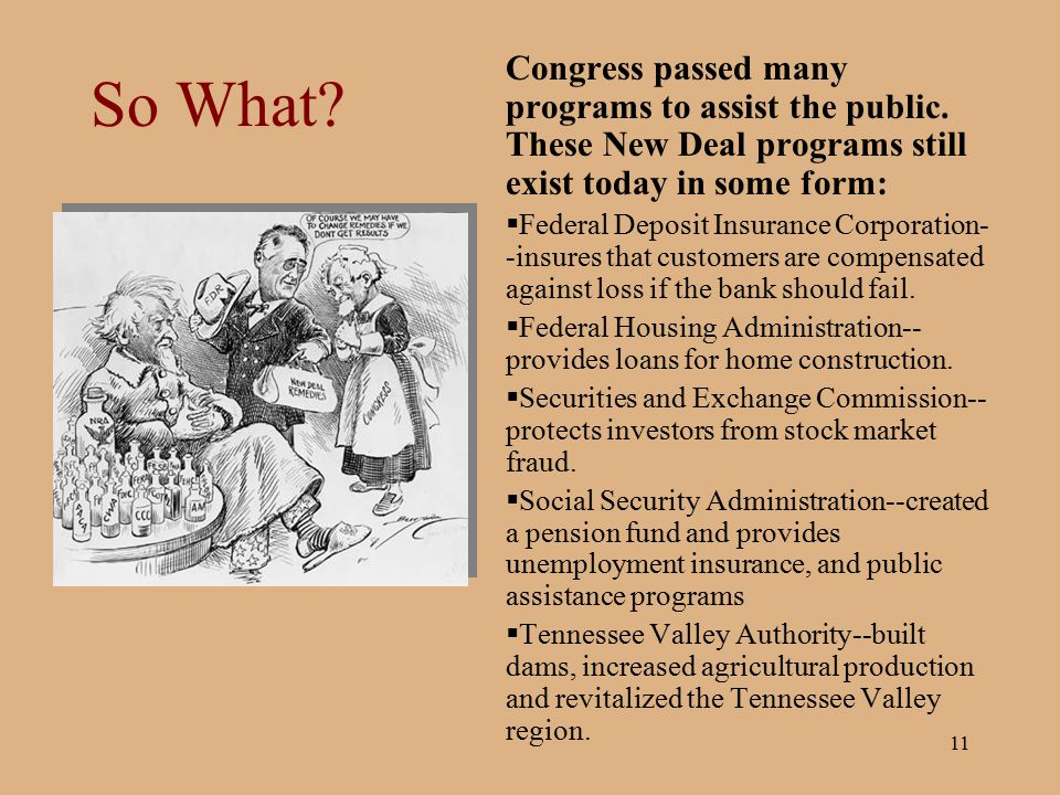 So What Congress passed many programs to assist the public. These New Deal programs still exist today in some form: