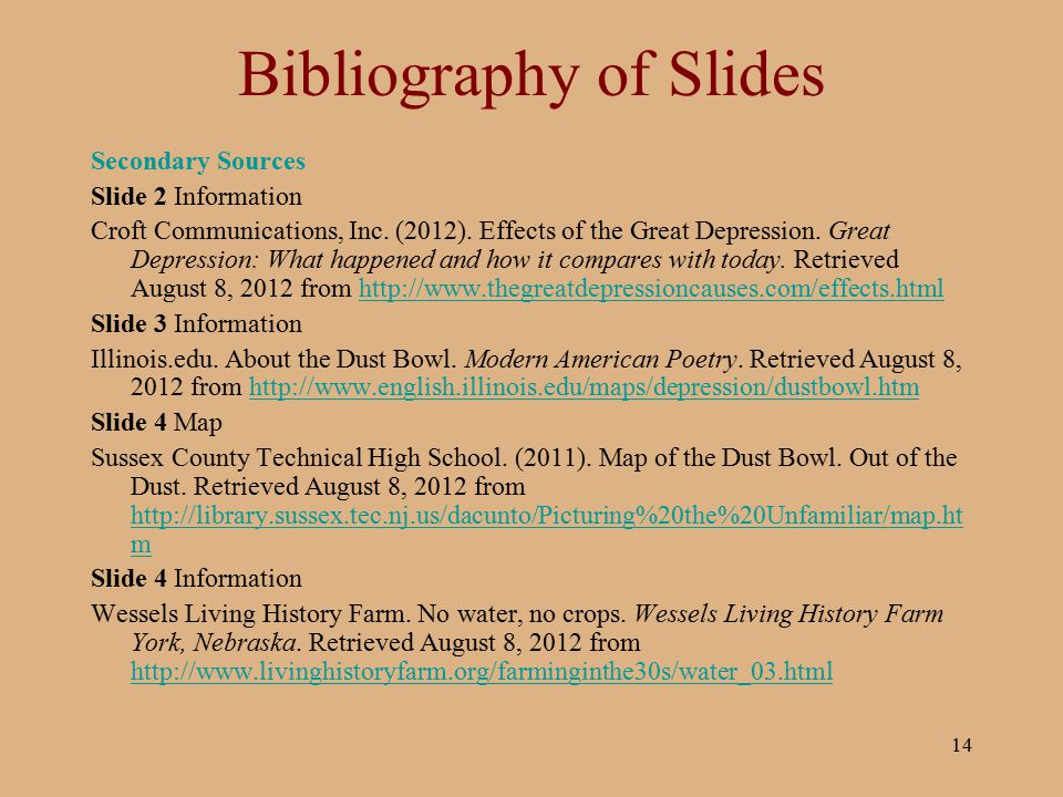 Bibliography of Slides