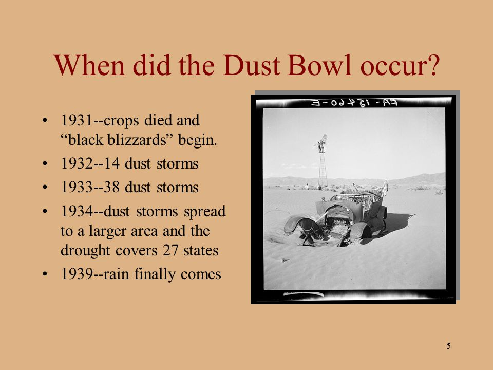 When did the Dust Bowl occur