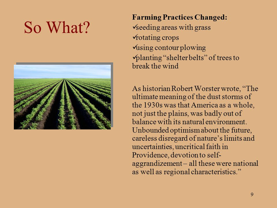 So What Farming Practices Changed: seeding areas with grass