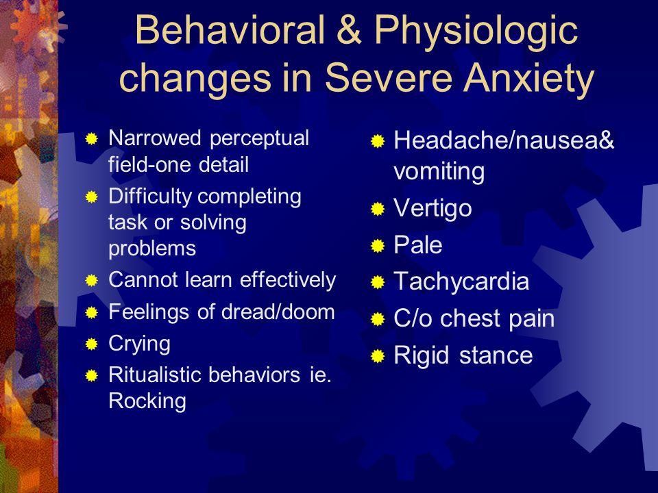Behavioral & Physiologic changes in Severe Anxiety