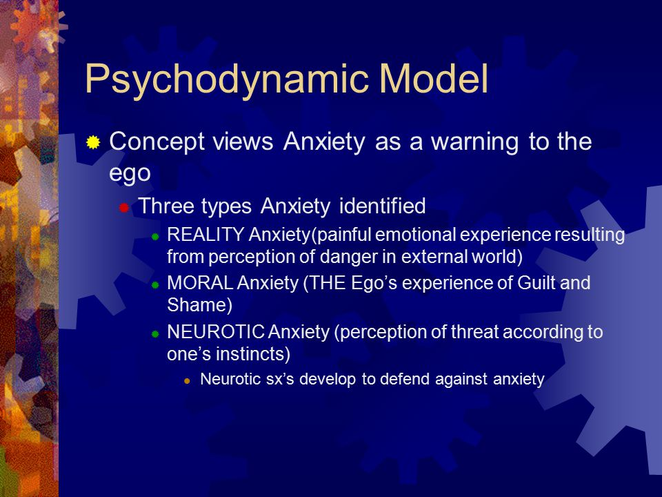 Psychodynamic Model Concept views Anxiety as a warning to the ego