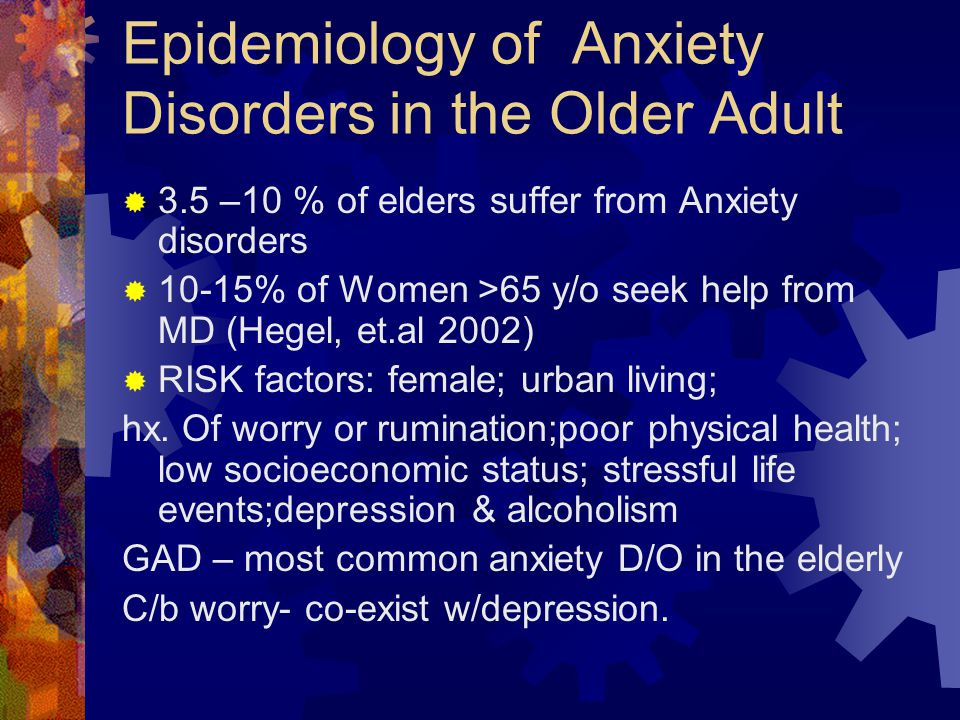 Epidemiology of Anxiety Disorders in the Older Adult