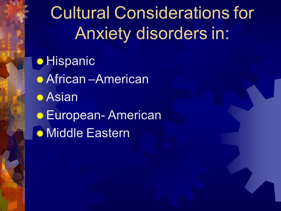 Cultural Considerations for Anxiety disorders in: