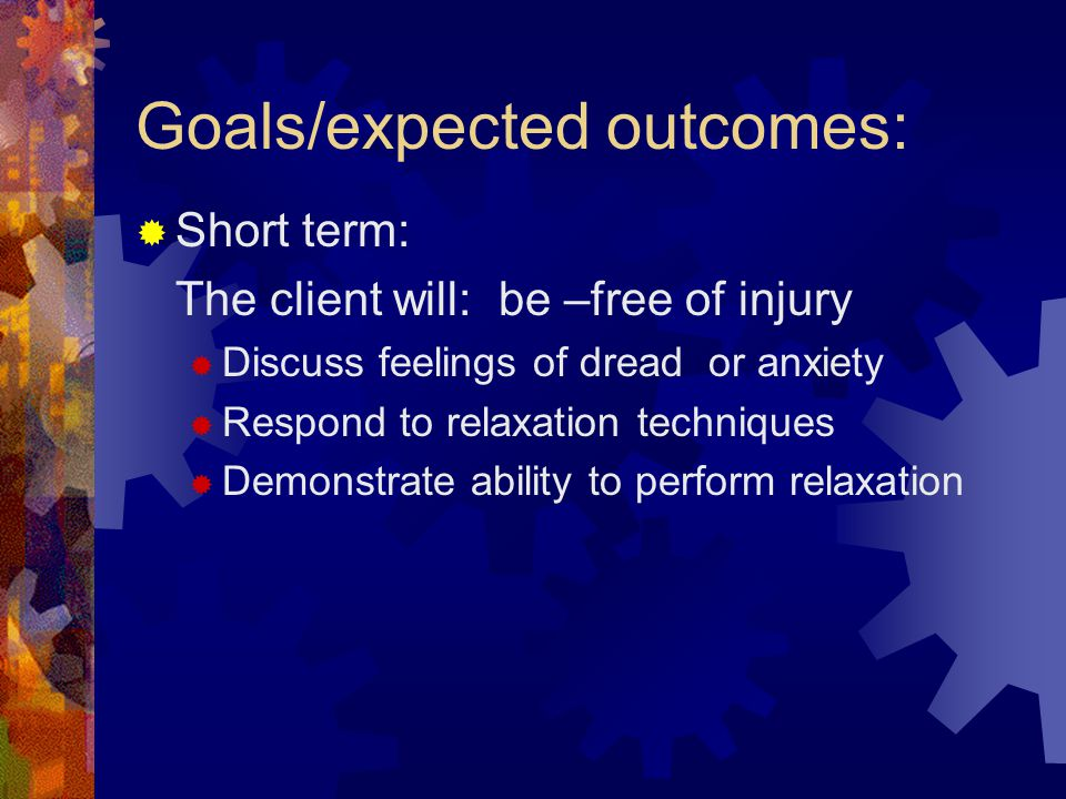Goals/expected outcomes: