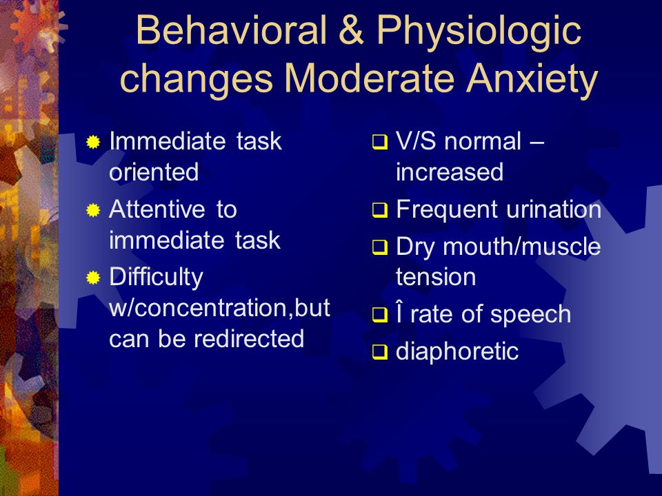 Behavioral & Physiologic changes Moderate Anxiety