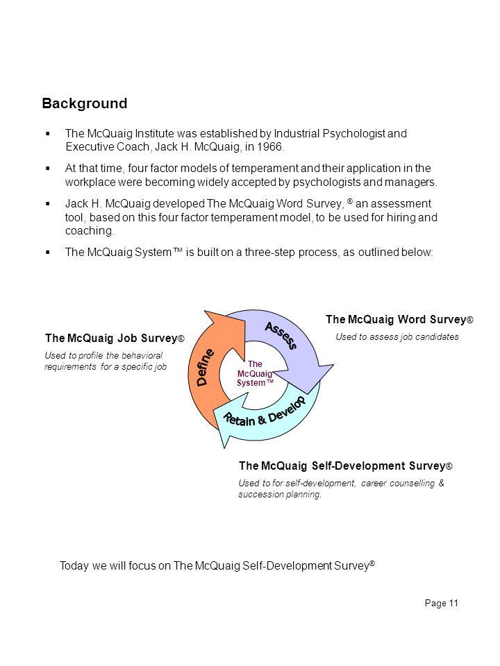 Retain & Develop Assess Define Background