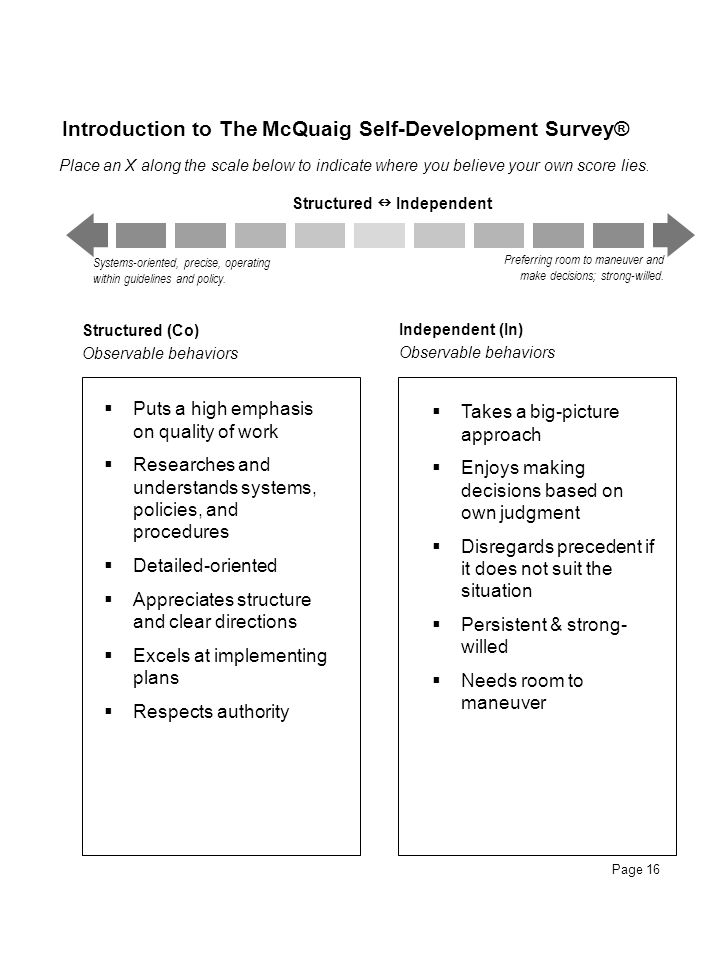 Introduction to The McQuaig Self-Development Survey®