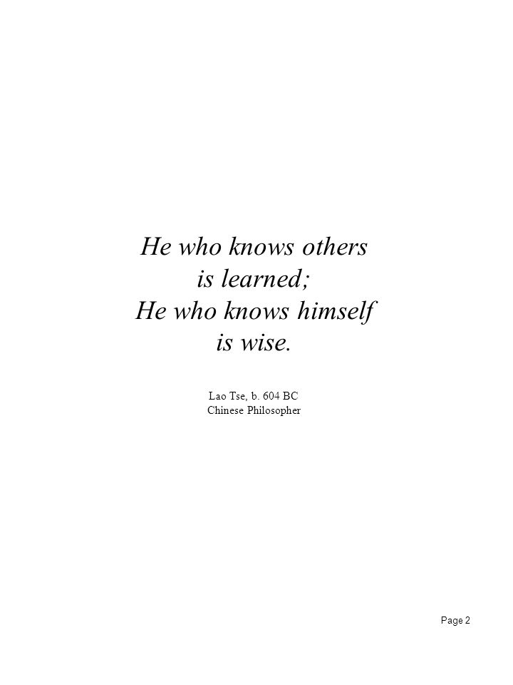 He who knows others is learned; He who knows himself is wise.