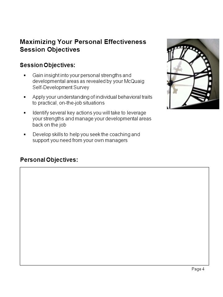 Maximizing Your Personal Effectiveness Session Objectives