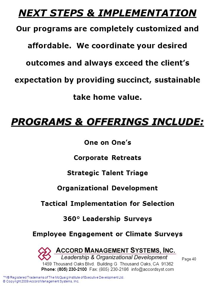 NEXT STEPS & IMPLEMENTATION PROGRAMS & OFFERINGS INCLUDE: