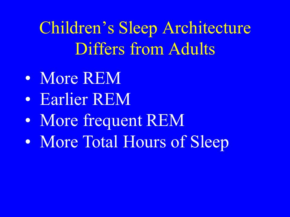 Children's Sleep Architecture Differs from Adults