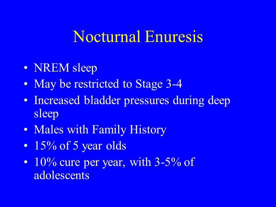Nocturnal Enuresis NREM sleep May be restricted to Stage 3-4
