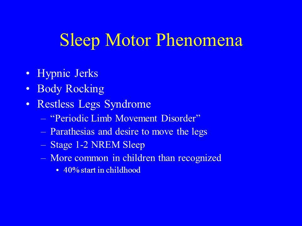 Sleep Motor Phenomena Hypnic Jerks Body Rocking Restless Legs Syndrome