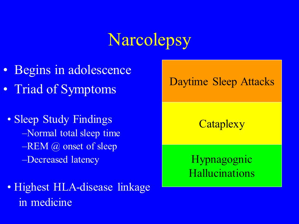 Narcolepsy Begins in adolescence Triad of Symptoms