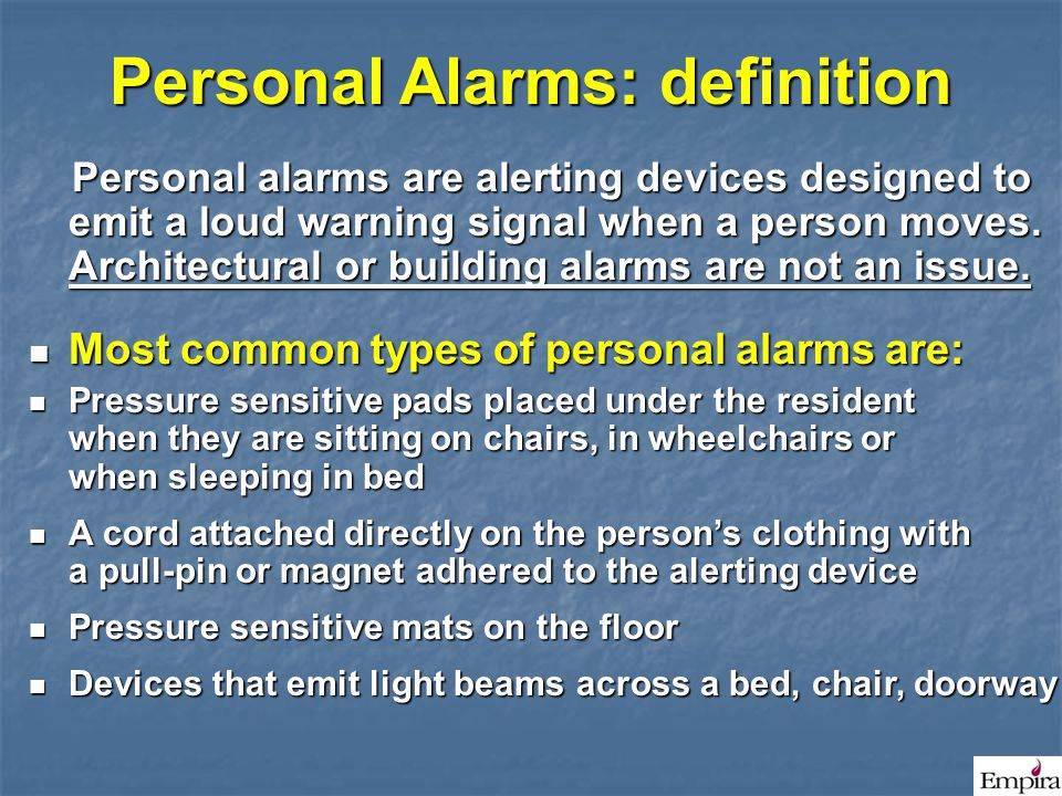 Personal Alarms: definition
