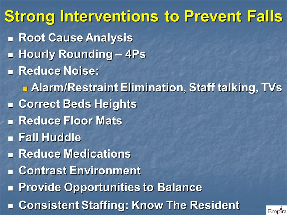 Strong Interventions to Prevent Falls
