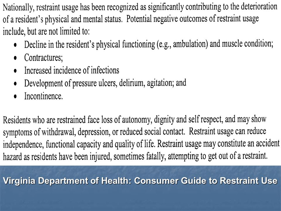 Virginia Department of Health: Consumer Guide to Restraint Use