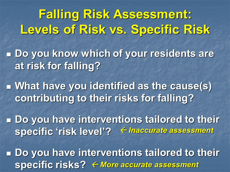 Falling Risk Assessment: Levels of Risk vs. Specific Risk