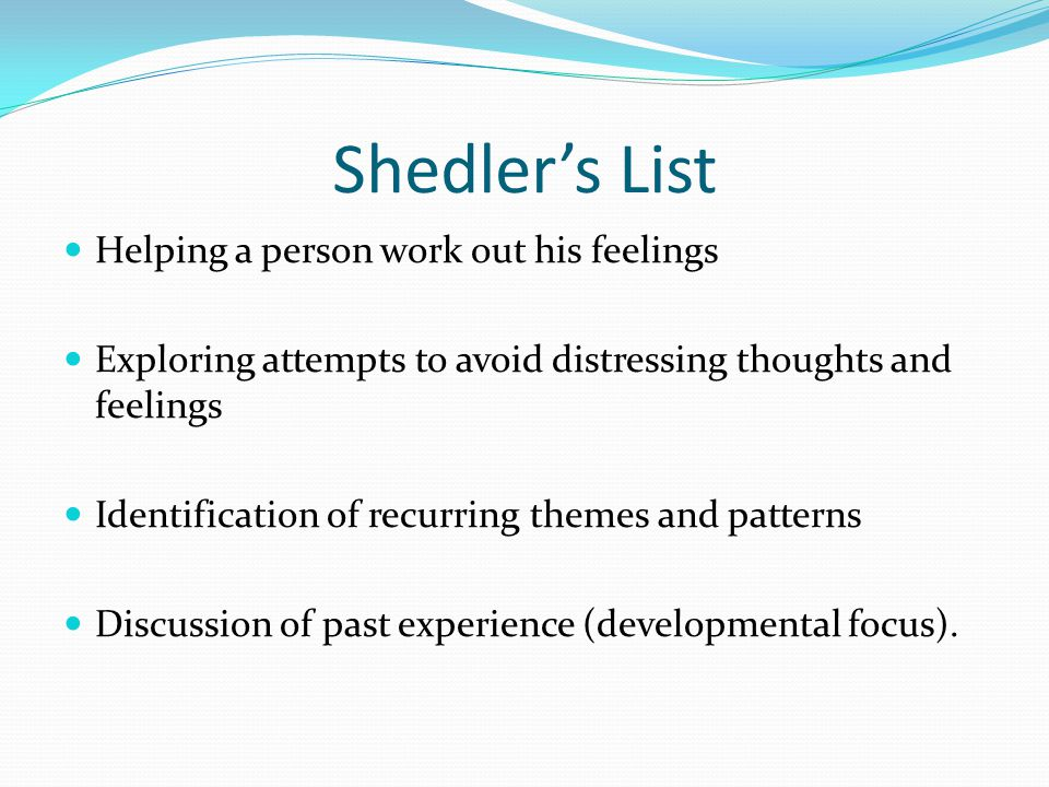 Shedler's List Helping a person work out his feelings