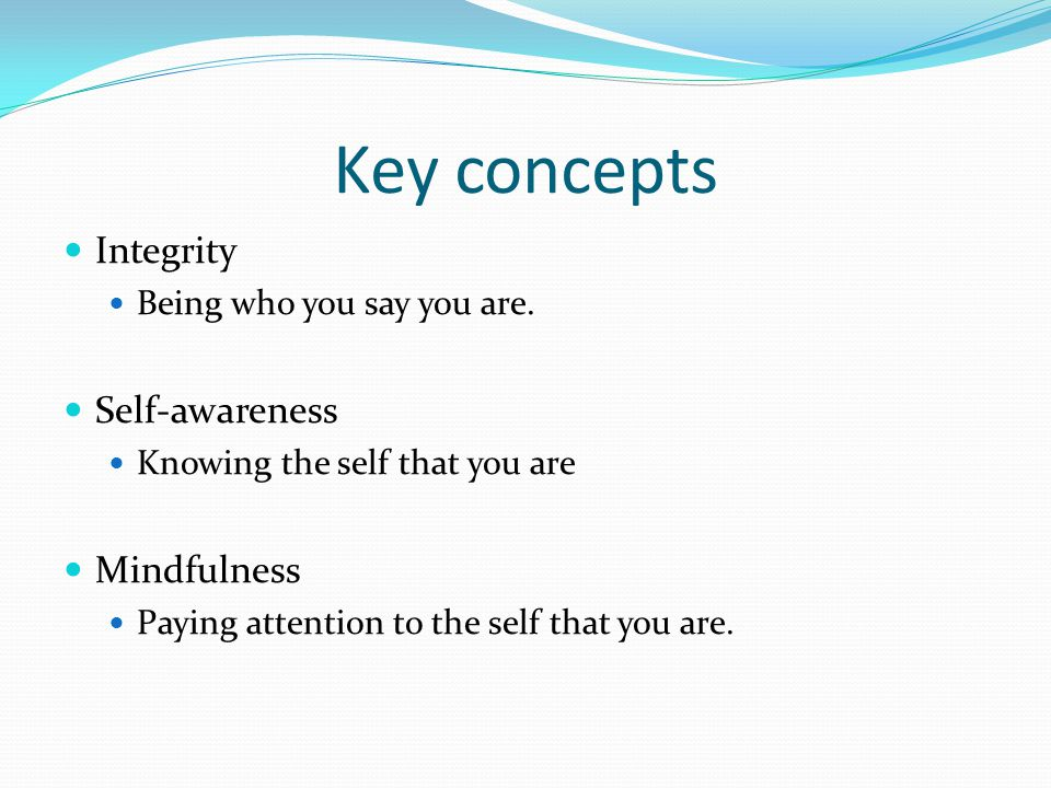 Key concepts Integrity Self-awareness Mindfulness