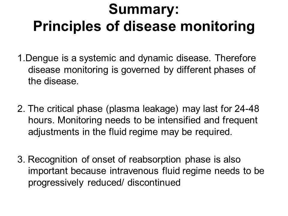 Summary: Principles of disease monitoring