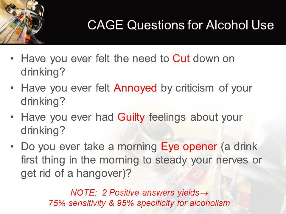 CAGE Questions for Alcohol Use