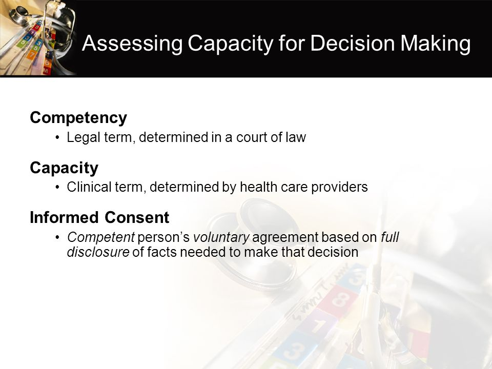 Assessing Capacity for Decision Making