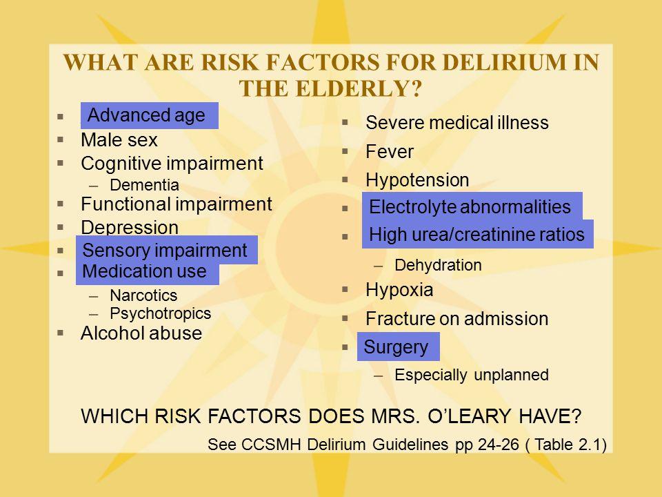 WHAT ARE RISK FACTORS FOR DELIRIUM IN THE ELDERLY