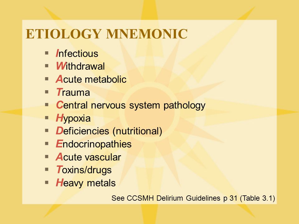 ETIOLOGY MNEMONIC Infectious Withdrawal Acute metabolic Trauma