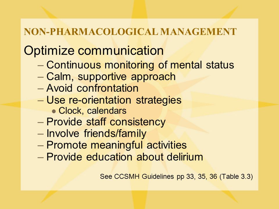 NON-PHARMACOLOGICAL MANAGEMENT