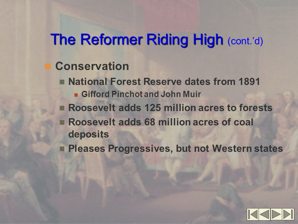 The Reformer Riding High (cont.'d)