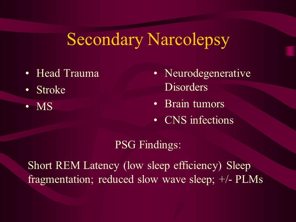 Secondary Narcolepsy Head Trauma Stroke MS Neurodegenerative Disorders
