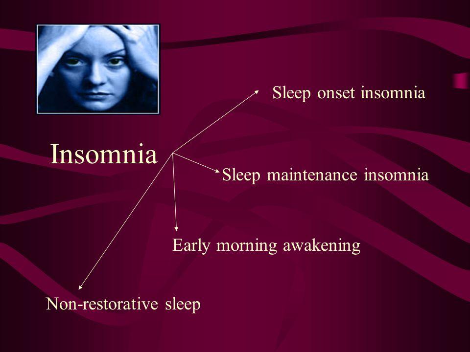 Insomnia Sleep onset insomnia Sleep maintenance insomnia
