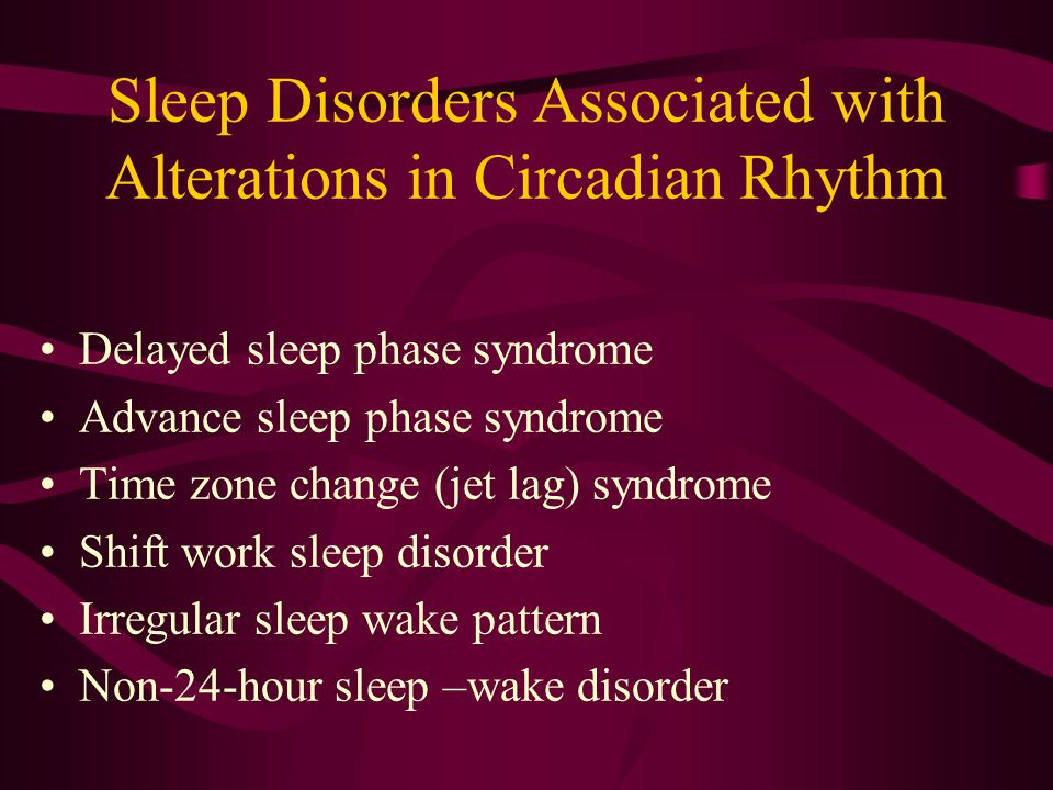Sleep Disorders Associated with Alterations in Circadian Rhythm
