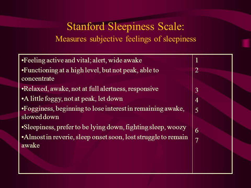 Stanford Sleepiness Scale: Measures subjective feelings of sleepiness