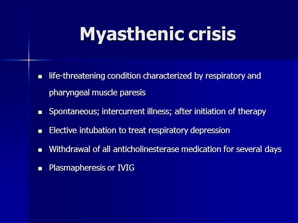 Myasthenic crisis life-threatening condition characterized by respiratory and pharyngeal muscle paresis.