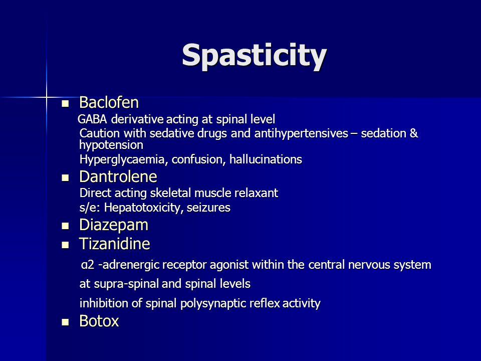 Spasticity Baclofen Dantrolene Diazepam Tizanidine