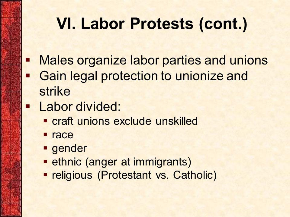 VI. Labor Protests (cont.)