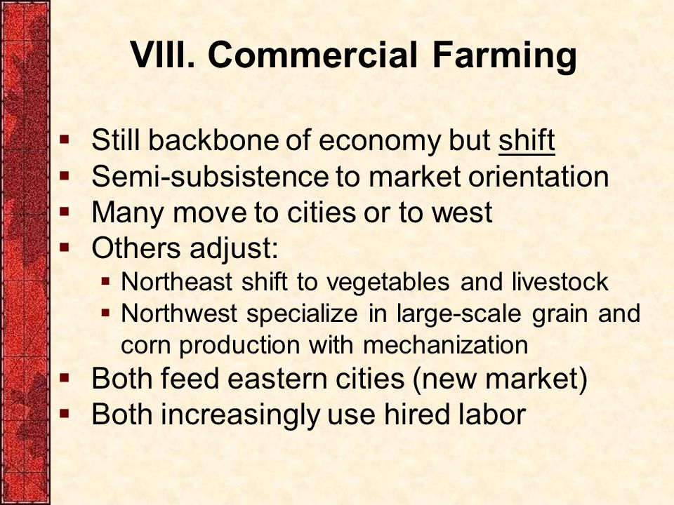 VIII. Commercial Farming