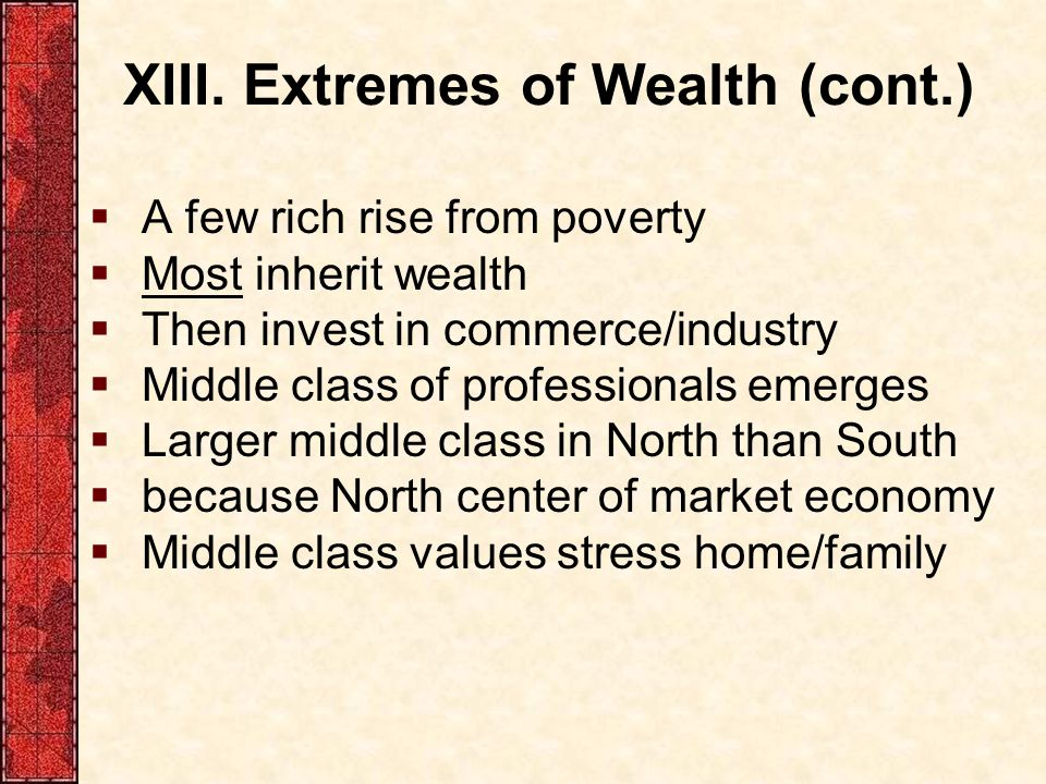 XIII. Extremes of Wealth (cont.)