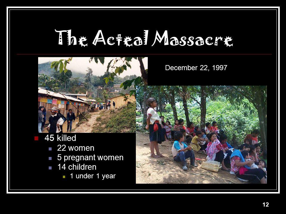 The Acteal Massacre 45 killed 22 women 5 pregnant women 14 children