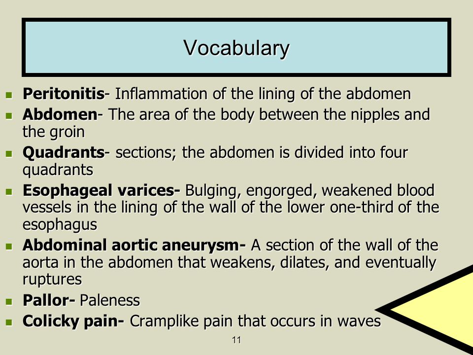 Vocabulary Peritonitis- Inflammation of the lining of the abdomen