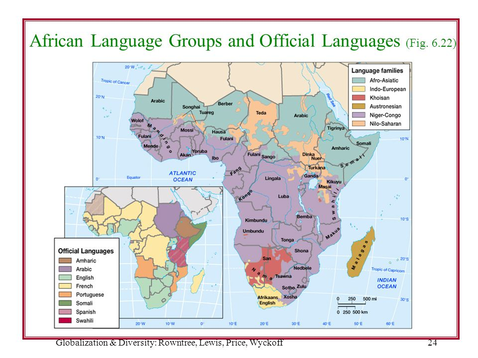 African Language Groups and Official Languages (Fig. 6.22)