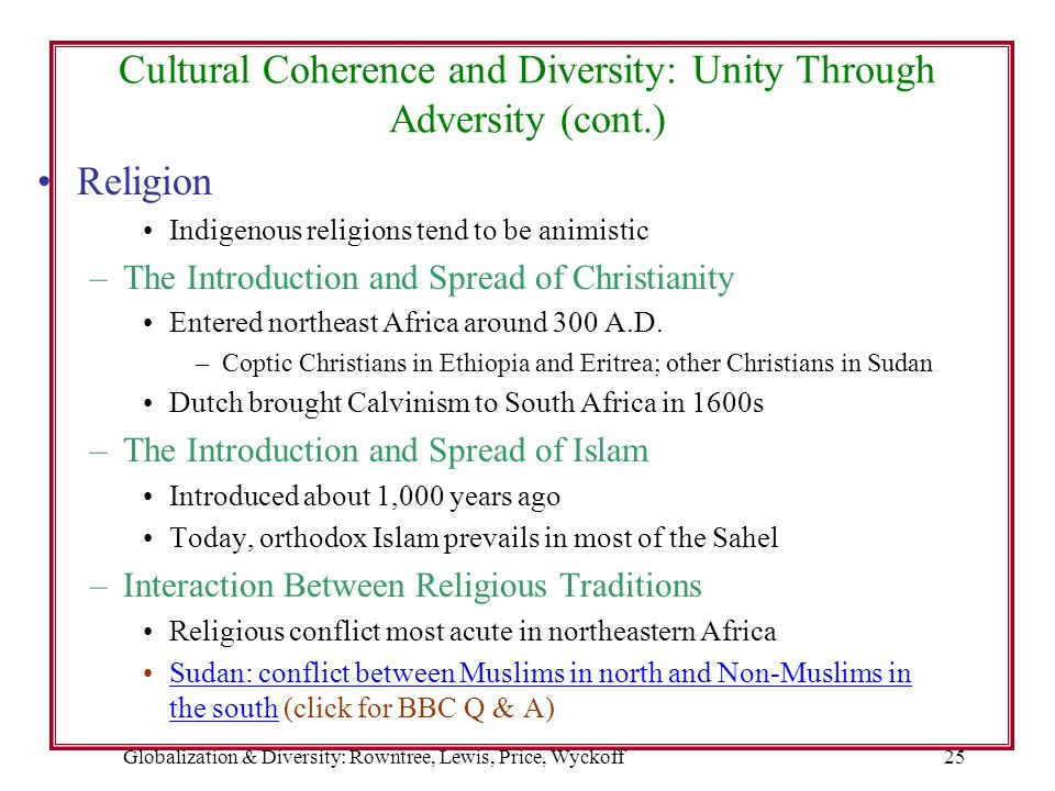 Cultural Coherence and Diversity: Unity Through Adversity (cont.)